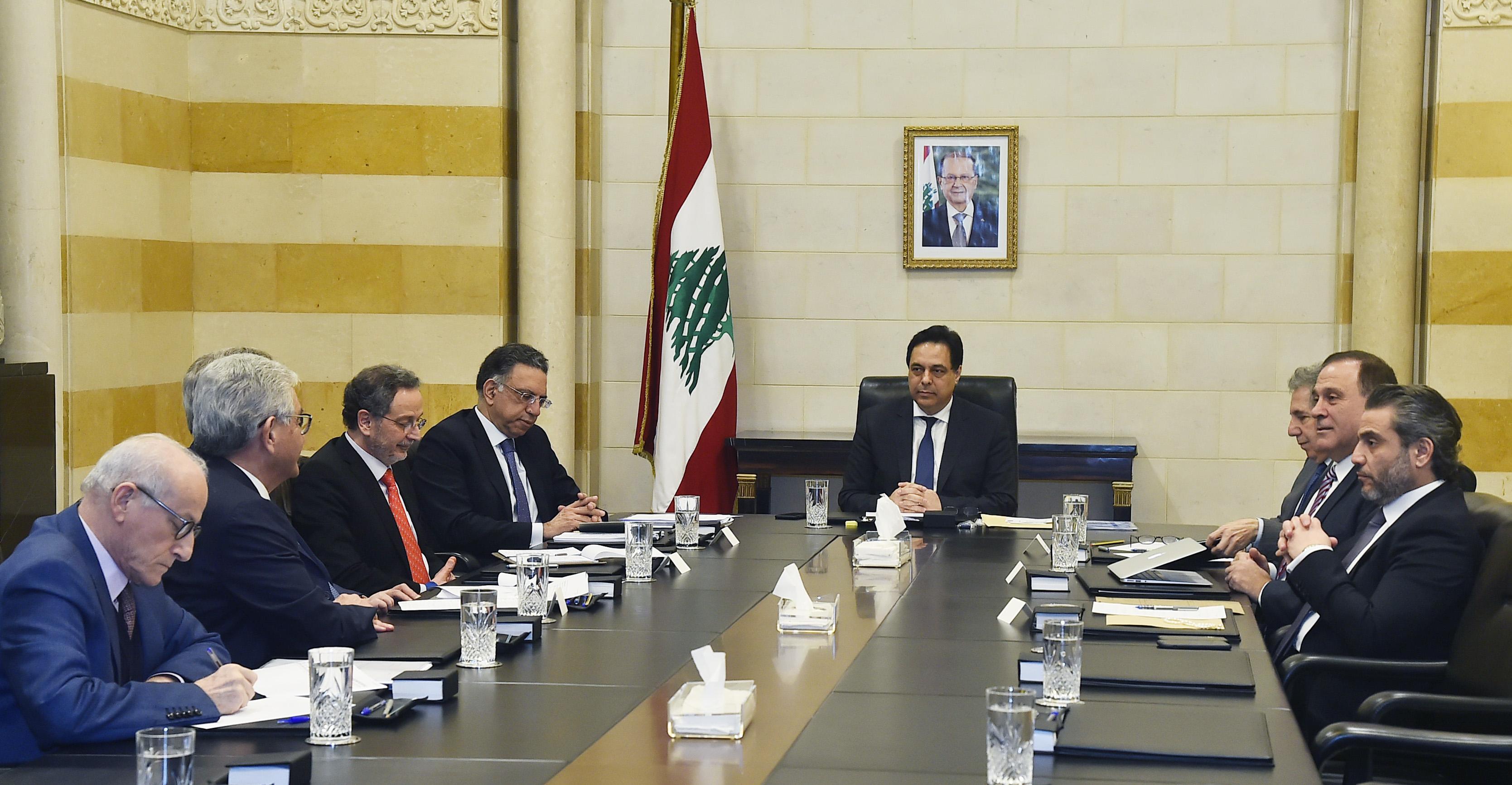 Pr Minister Hassan Diab meets Heading a Economics Meetings