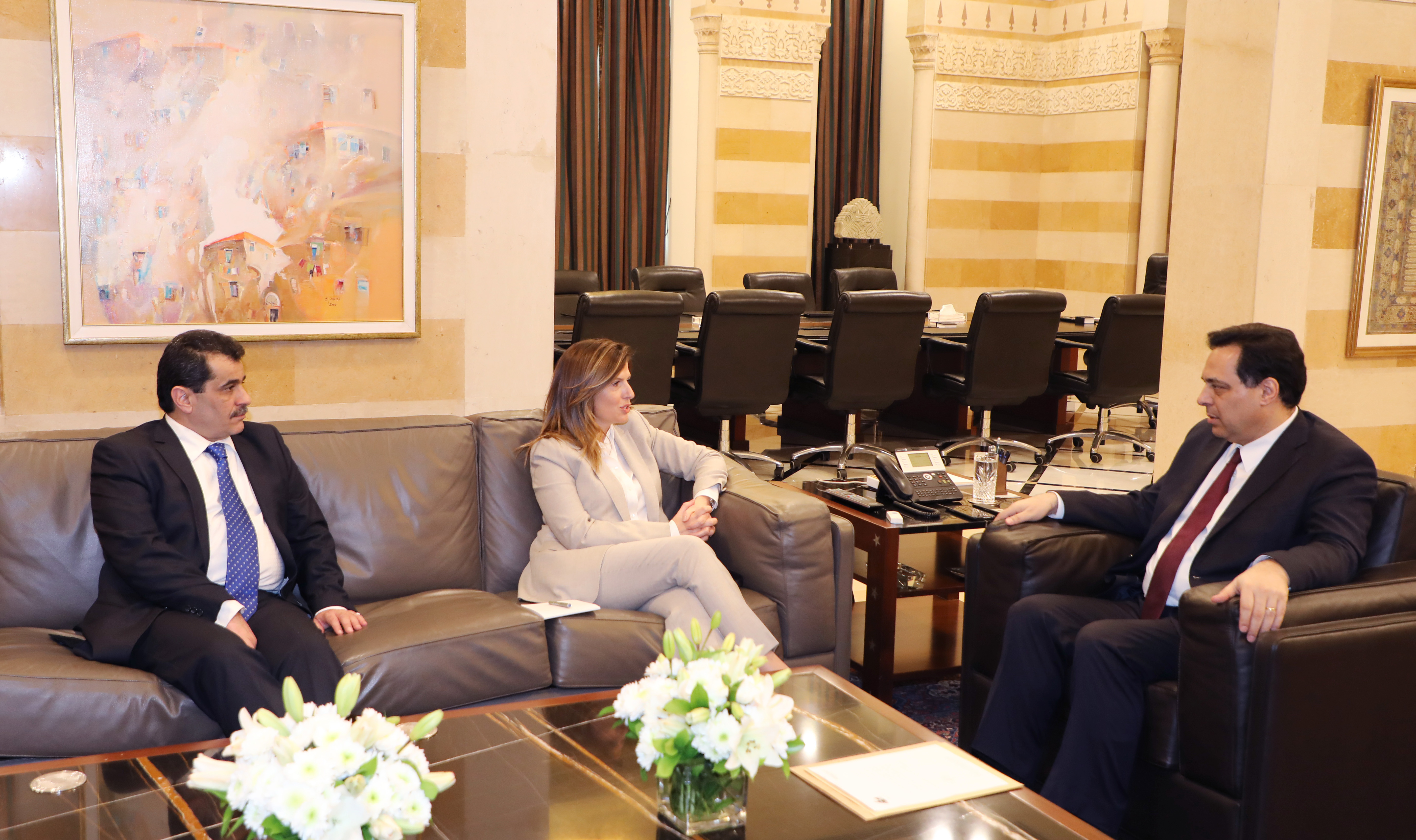 Pr Minister Hassan Diab meets Minister Lamya Yamine 4