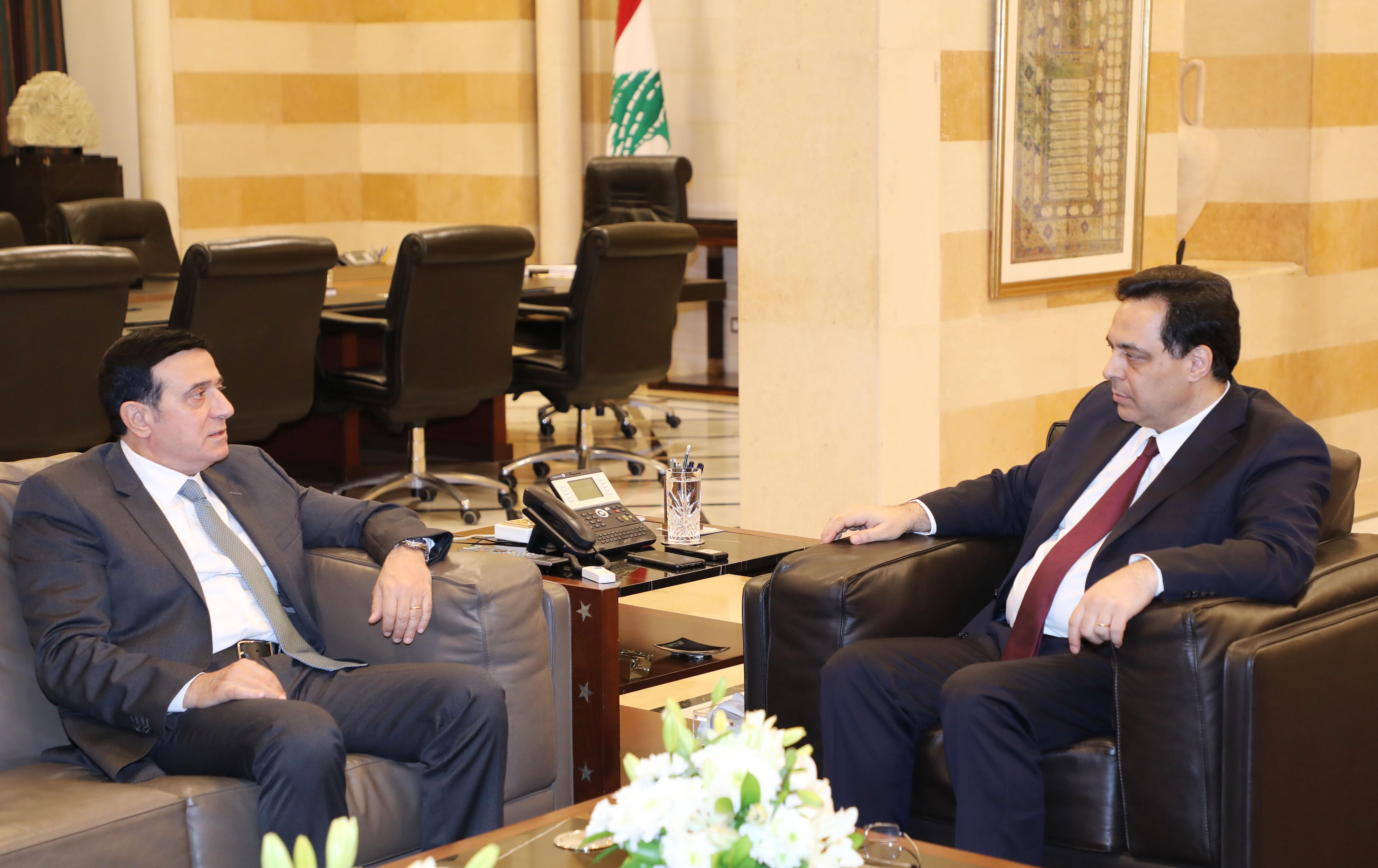 Pr Minister Hassan Diab meets Minister Michel Najjar