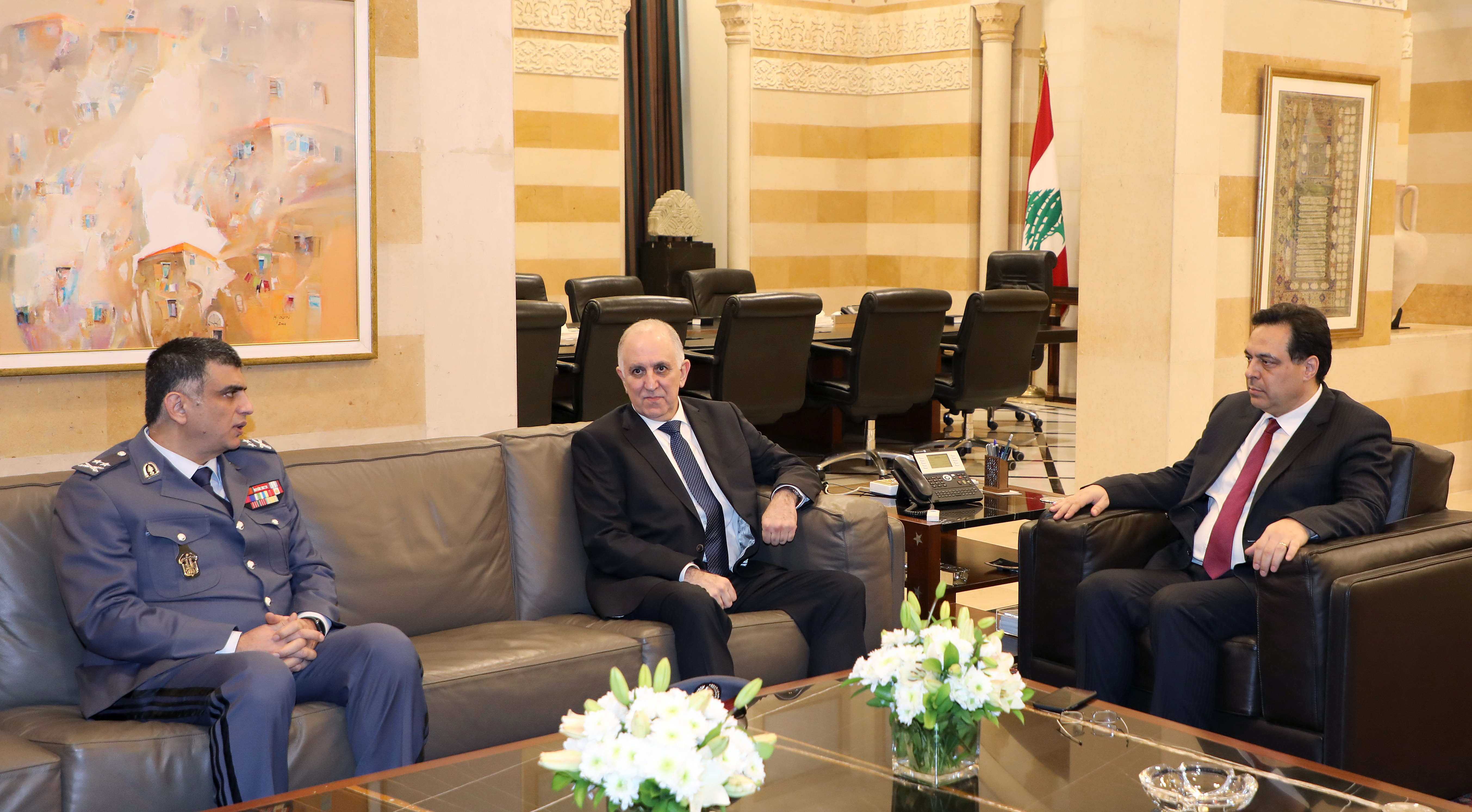 Pr Minister Hassan Diab meets Minister Mouhamad Fehmi & General Imad Outhman