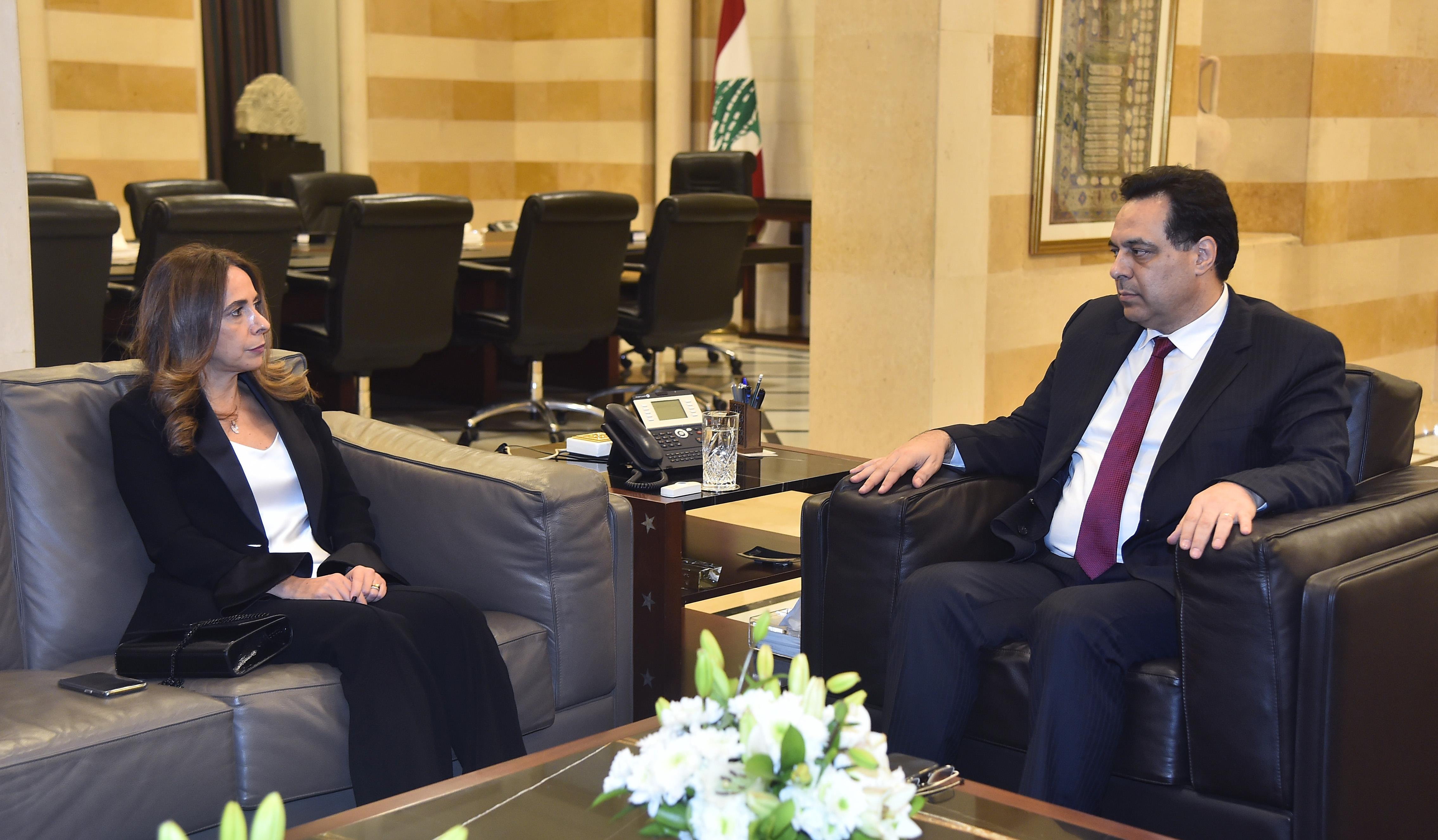 Pr Minister Hassan Diab meets Minister Zeina Akar Adra
