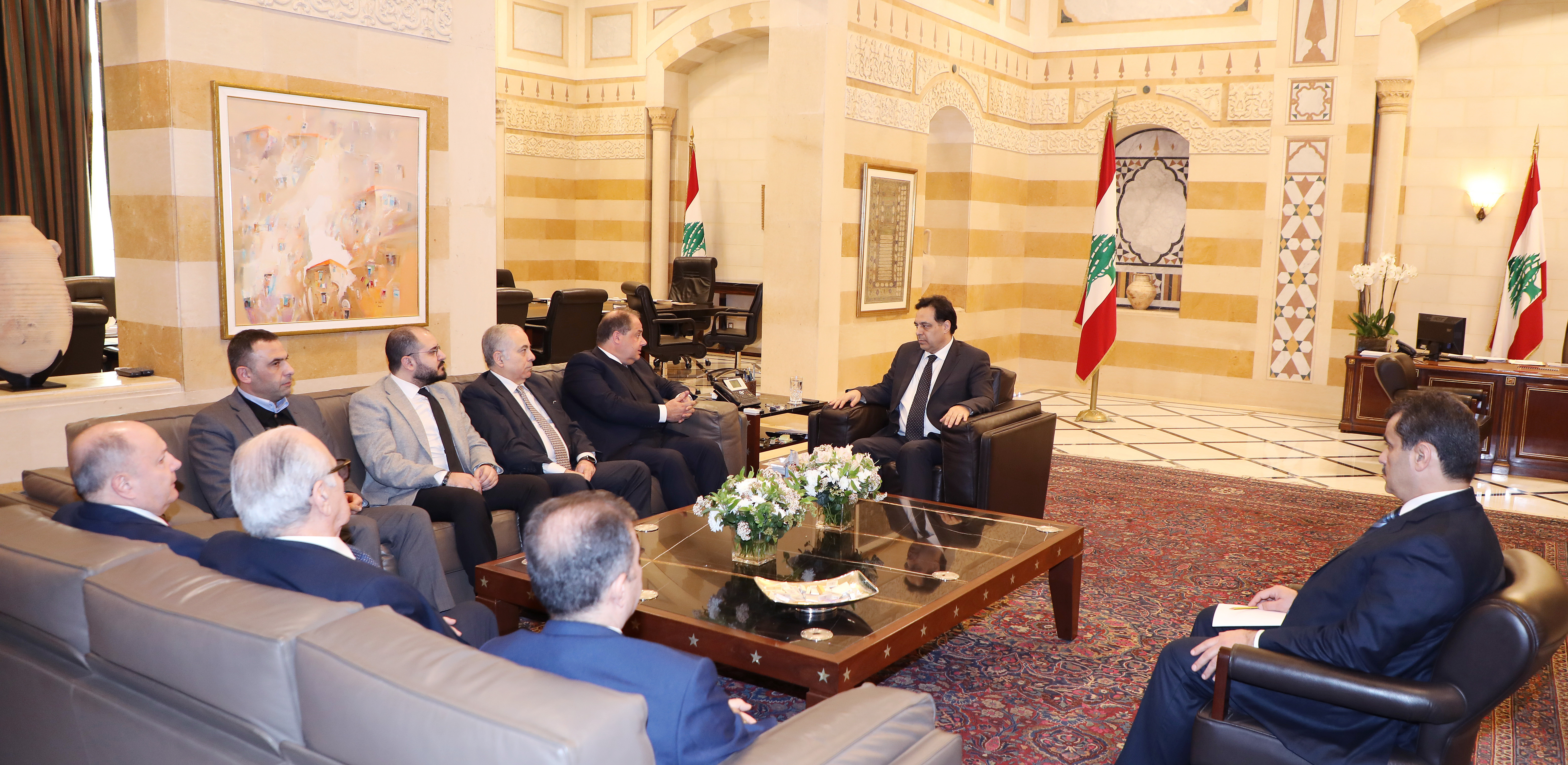 Pr Minister Hassan Diab meets Mr Charle Arbid with a Delegation