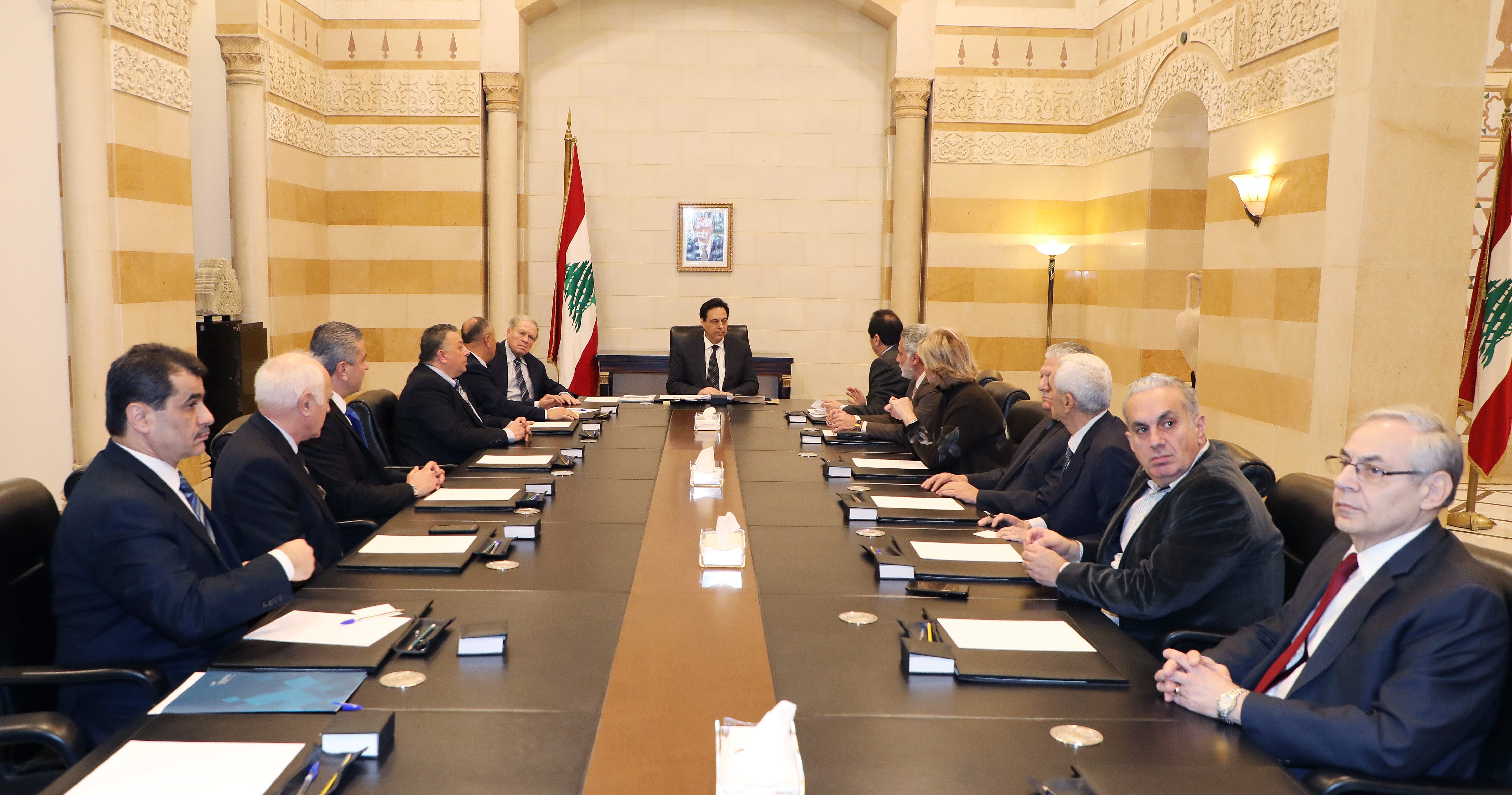 Pr Minister Hassan Diab meets a Delegation from Gaz Station Syndicate 1