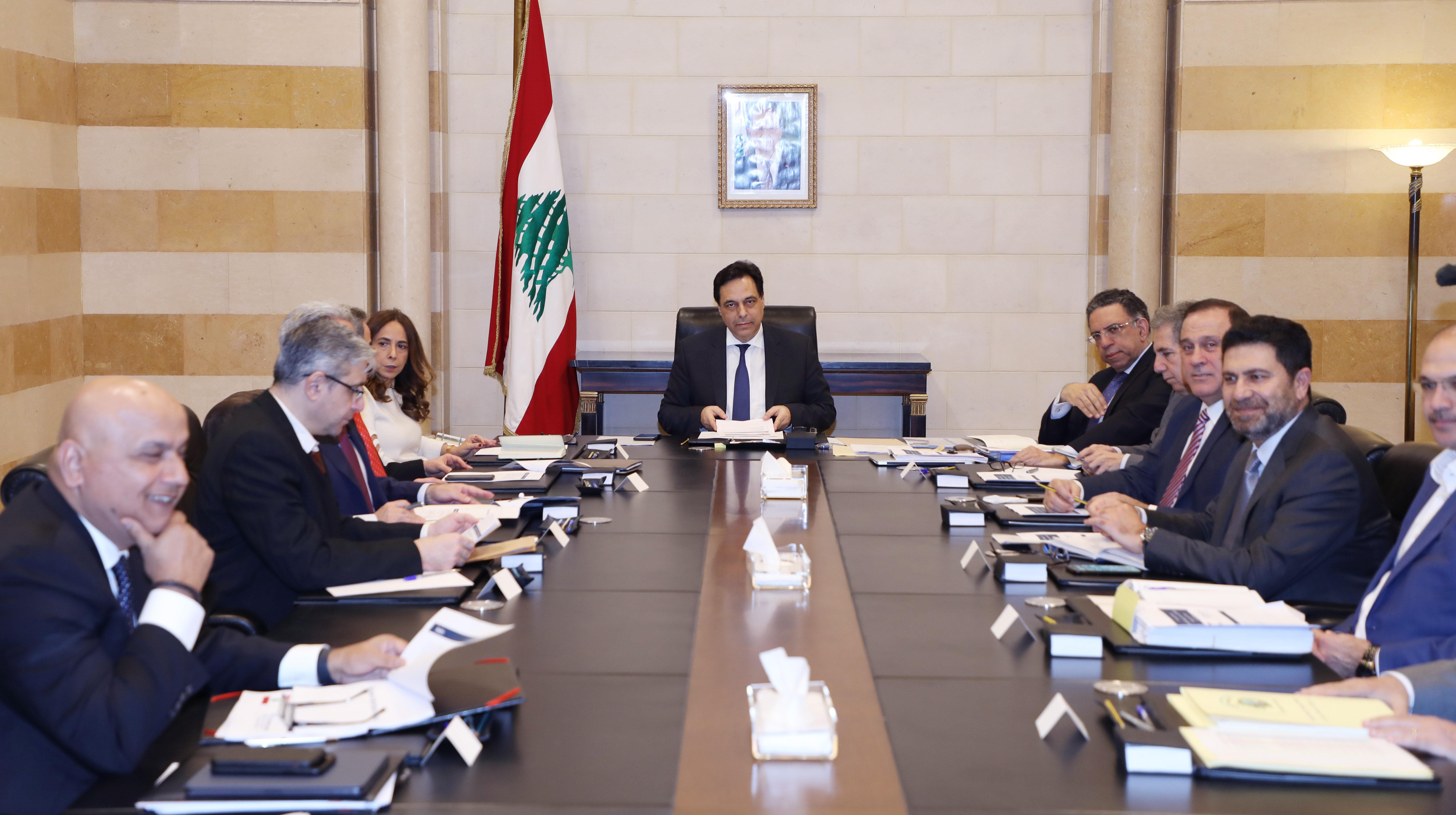 Pr Minister Hassan Diab meets a Delegation from Lebanese Banks 2