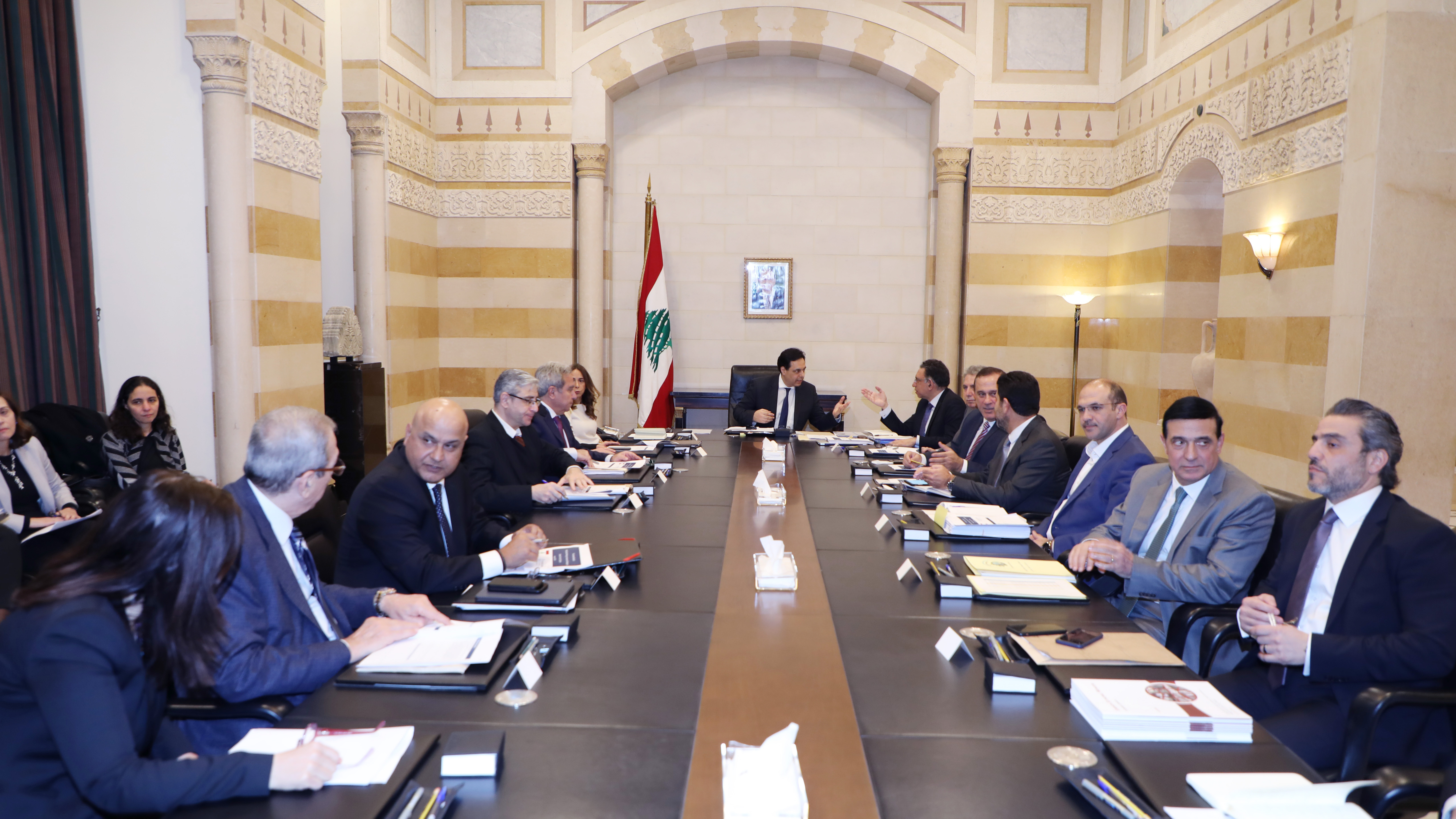 Pr Minister Hassan Diab meets a Delegation from Lebanese Banks 3