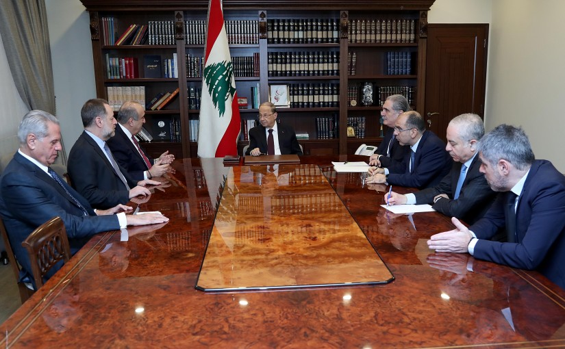 President Michel Aoun meets  Former Minister Fadi Abboud with a delegation.