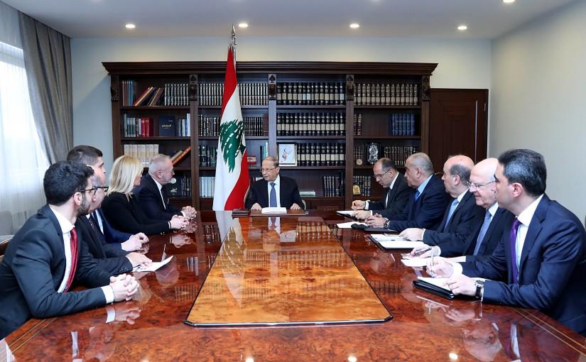 President Michel Aoun meets M. Joel Guerriau (Senator from Loire Atlantique ) with a delegation.