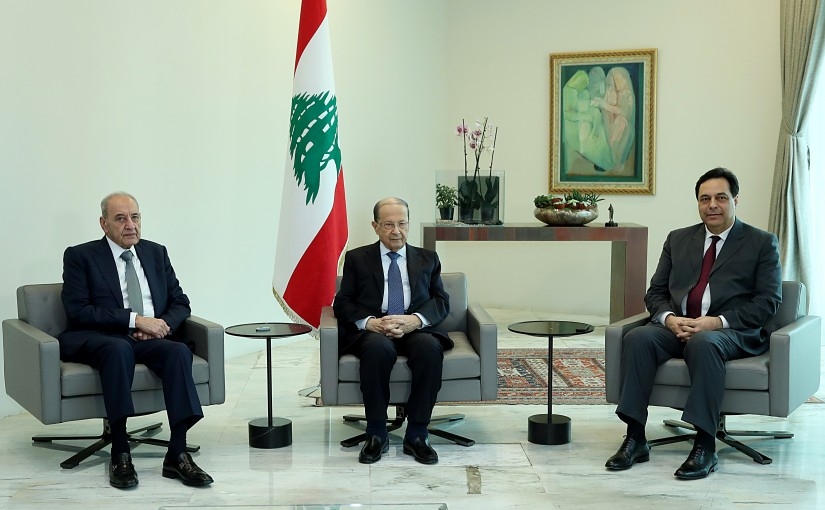 President Michel Aoun meets  with Speaker of Parliament Nabih Berri and Prime Minister Dr. Hassan Diab ahead of the meeting devoted to financial and economic conditions