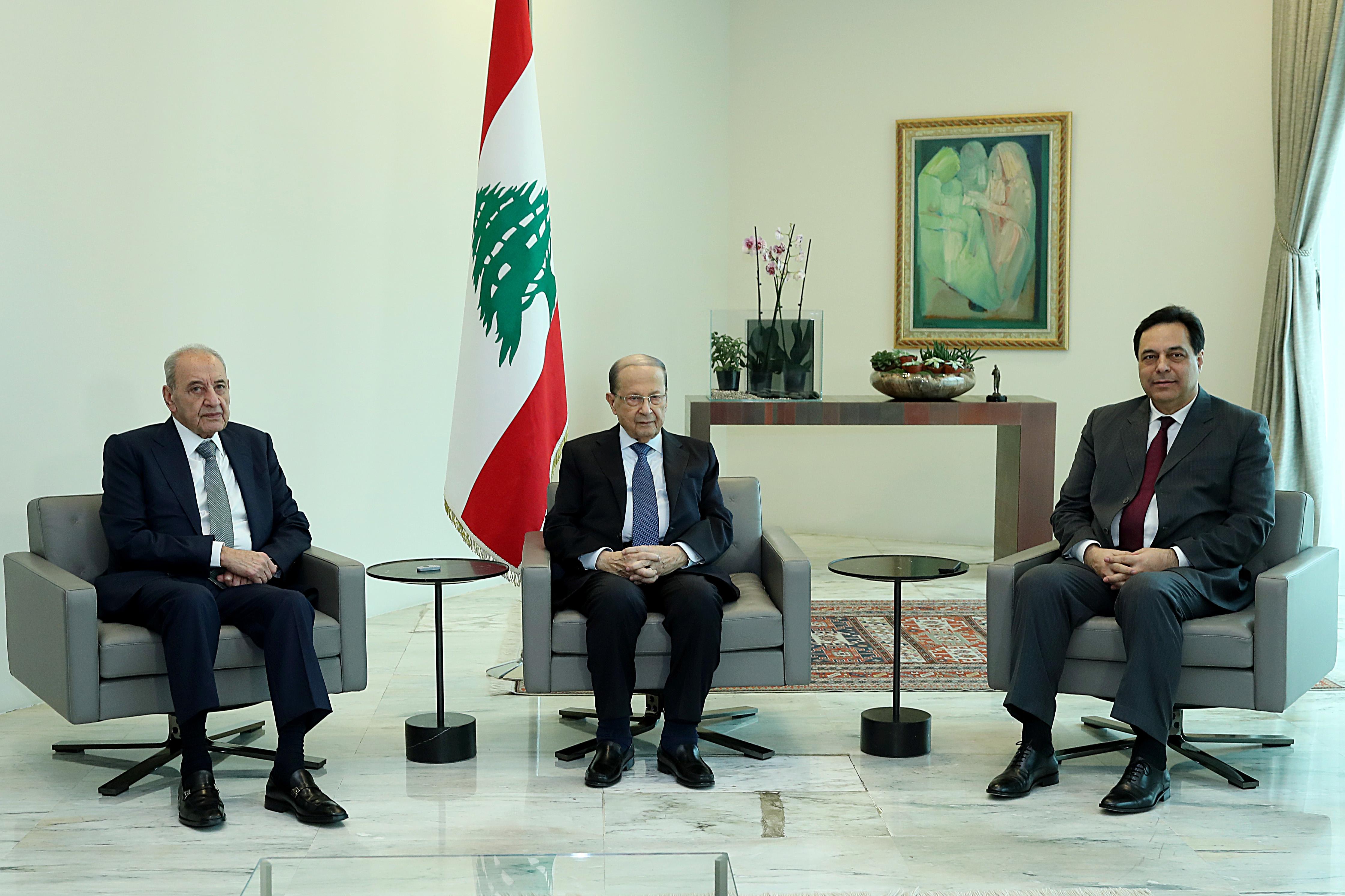 2 -A meeting between President Michel Aoun, Speaker of Parliament  (1)