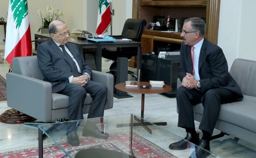President Michel Aoun meets Fayez Al Shawabka, Secretary General of the Arab Parliamentary Union.