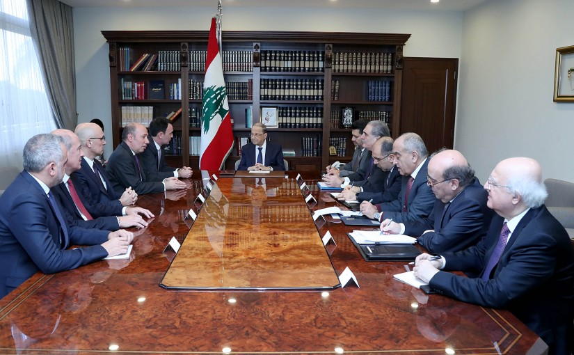 """President Aoun meets the Minister  Raymond Ghajar  and Chairman of the Petroleum Sector Authority with a delegation from """"Total"""" Company."""