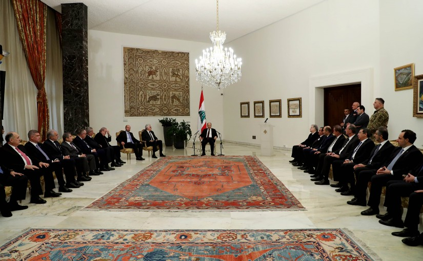 President Michel Aoun receives members of the diplomatic corps accredited in Lebanon.