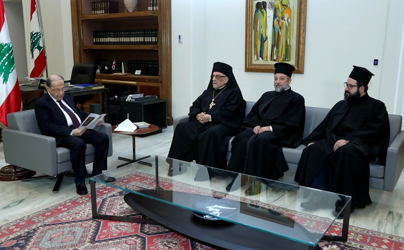 President Michel Aoun  meets Archimandrite Elias Khoudary.