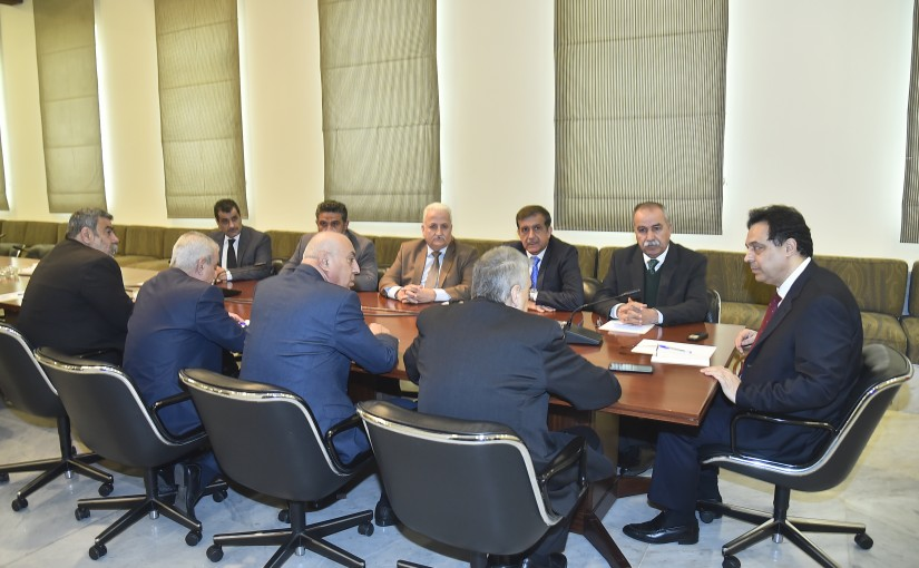 Pr Minister Hassan Diab meets a Delegation from Labor Syndicate