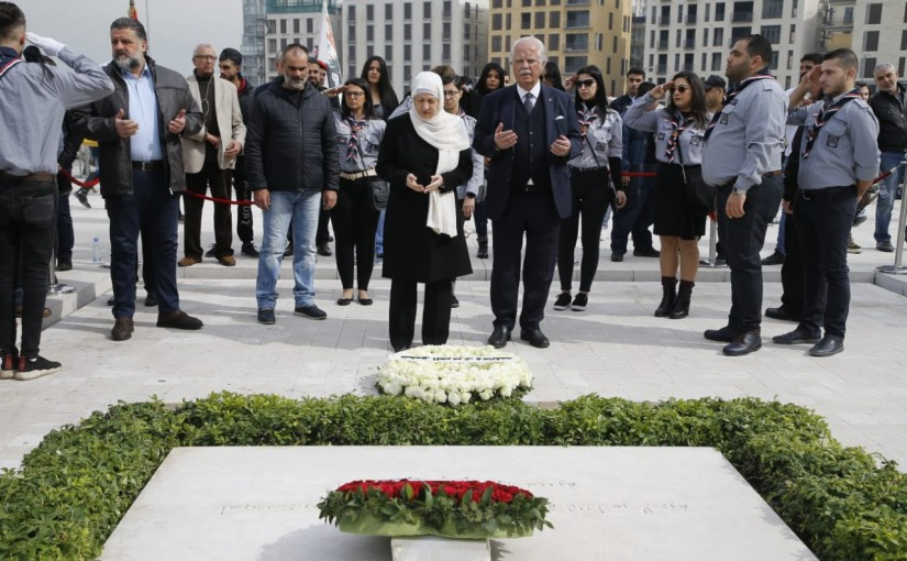 MP Bahiya Hariri Put a Wreath at the Grave of Pr Minister Rafic Hariri
