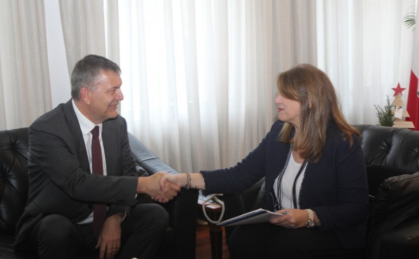 Minister Marie Claude Najem meets aMr Phillip Larizini