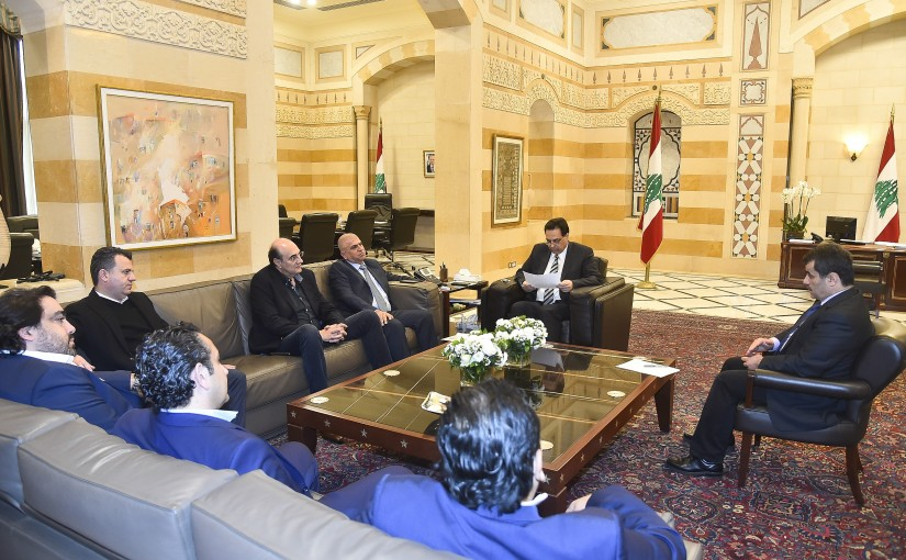 Pr Minister Hassan Diab meets Mr Fady Abou Chakra with a Delegation