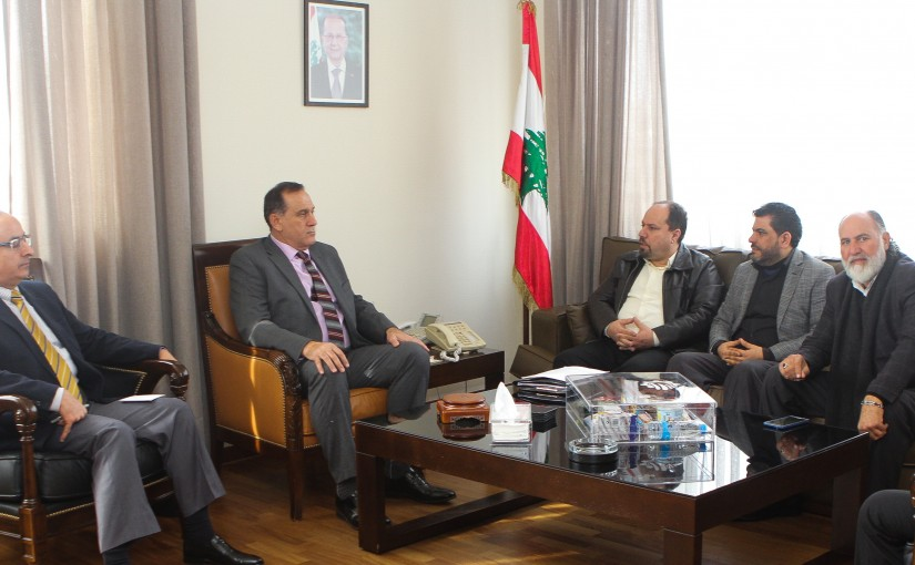 Minister Imad Habalah meets a Delegation from Lebanese Syndicates