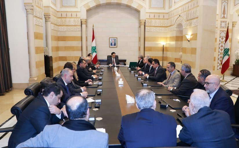 Pr Minister Hassan Diab meets a Delegation from Industrial Syndicate