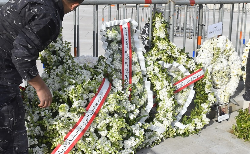 a Wreath from Pr Minister Hassan Diab & Judge Mahmoud Makieh at the Grave of Pr Minister Rafic Hariri