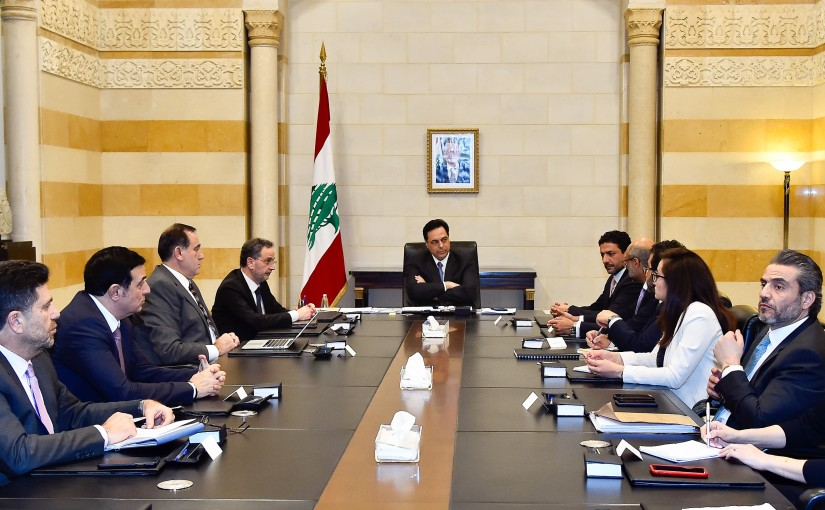 Pr Minister Hassan Diab meets a  Delegation from International  Funds