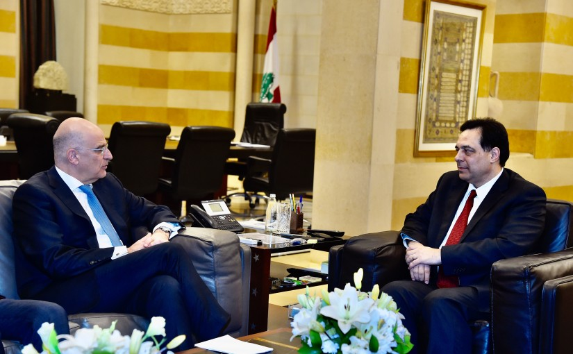 Pr Minister Hassan Diab meets Greek Minister of Foreign Affairs