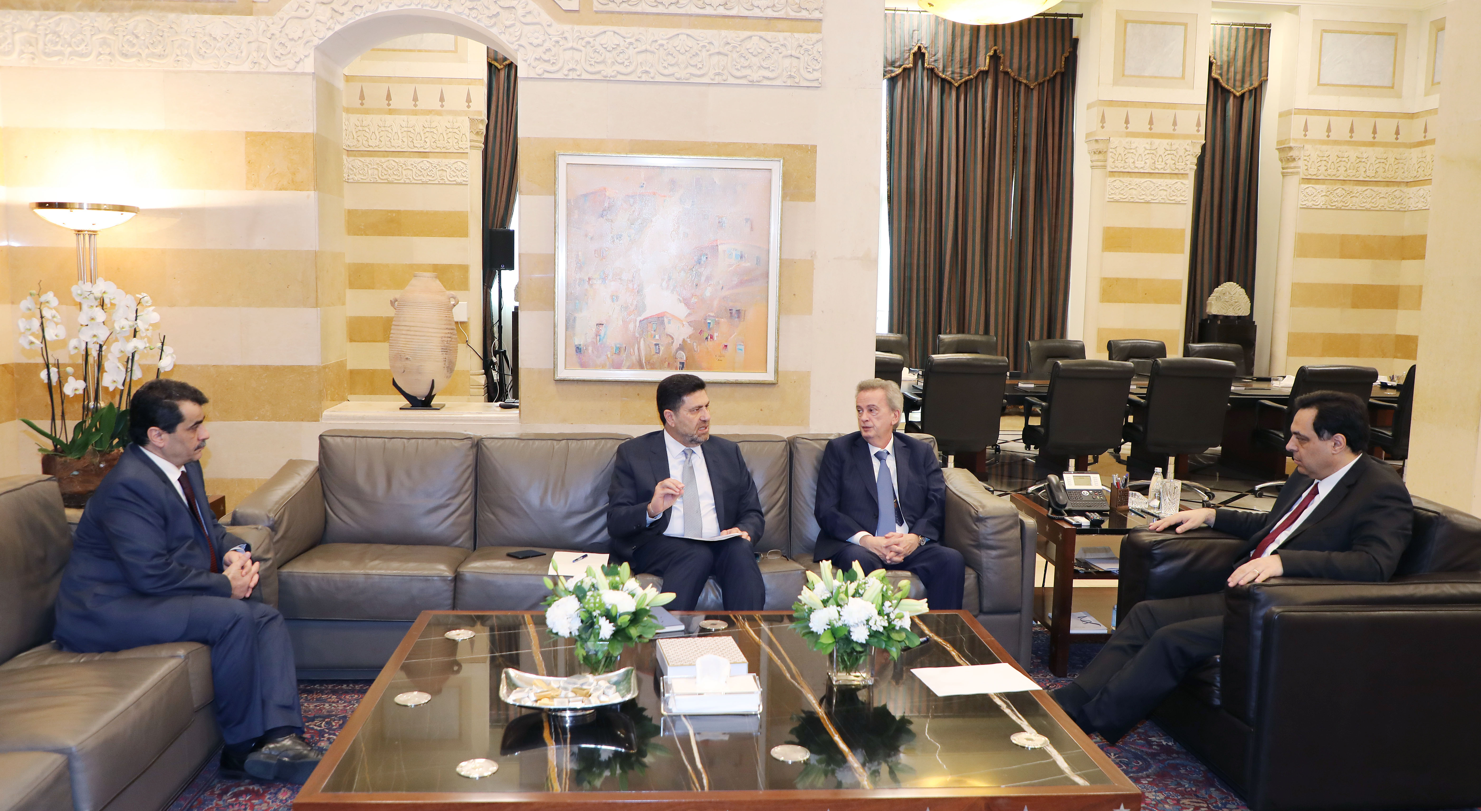 Pr Minister Hassan Diab meets Minister Raymond Ghajar with a Delegation