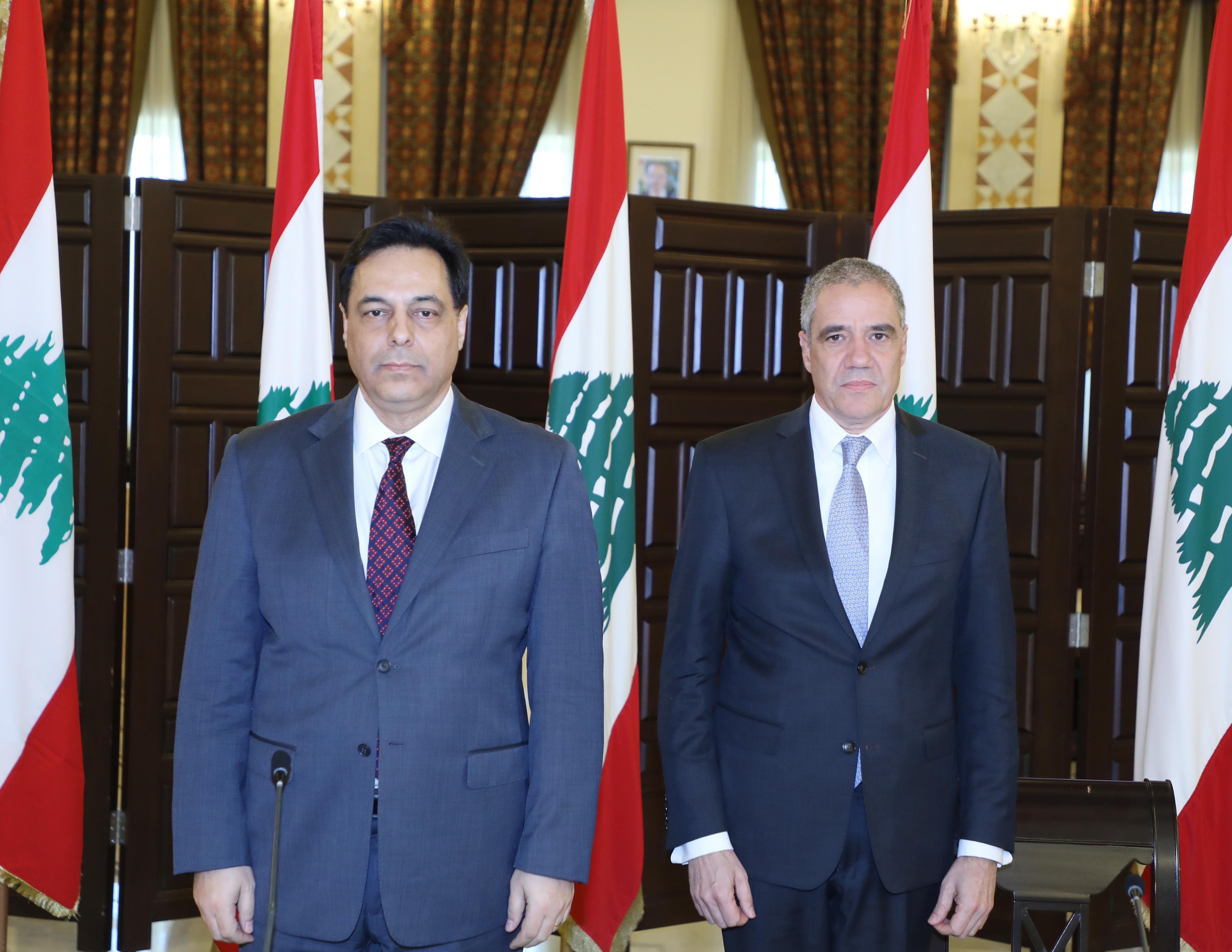 Pr Minister Hassan Diab meets a Delegation European Ambassador 1
