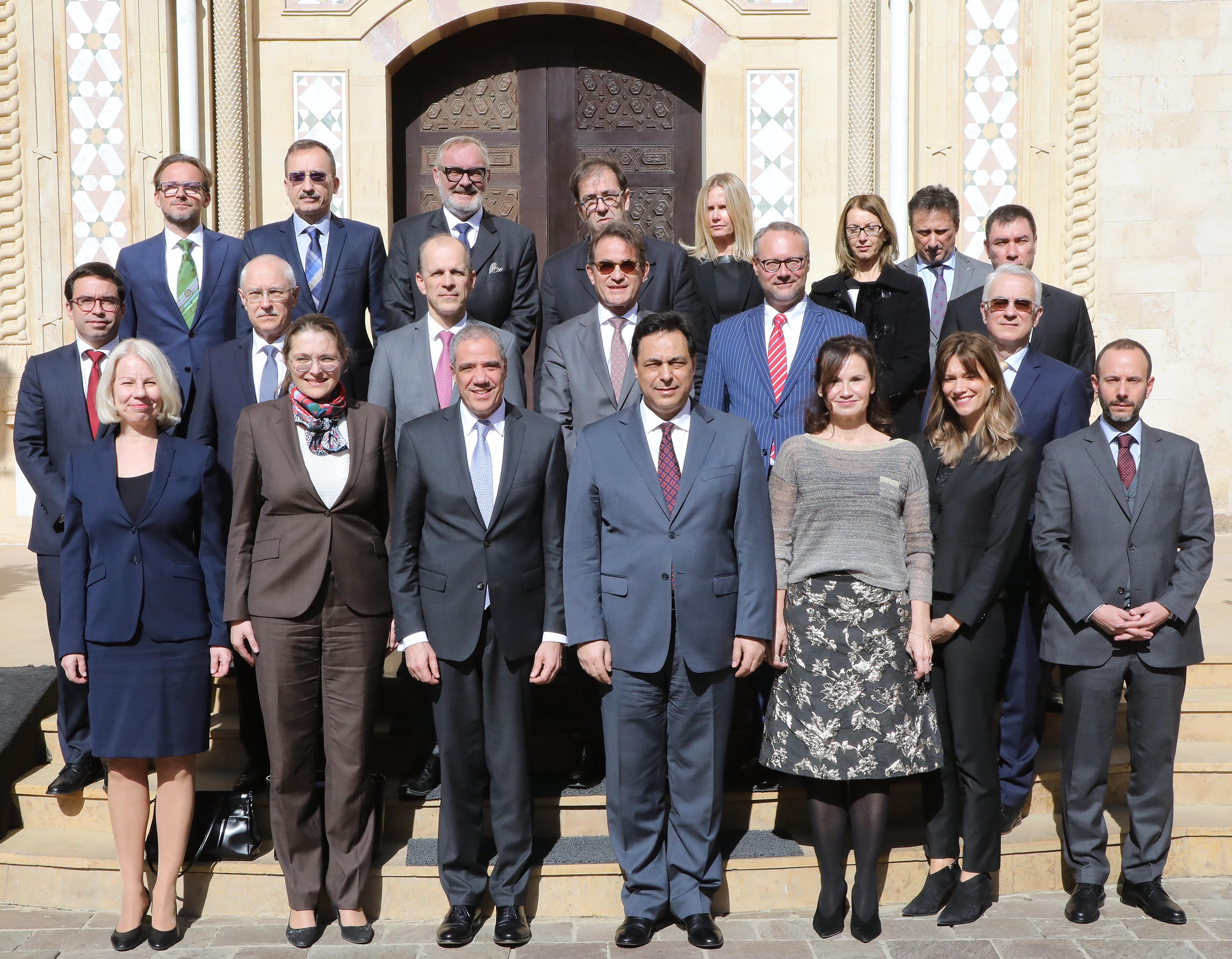 Pr Minister Hassan Diab meets a Delegation European Ambassador 3