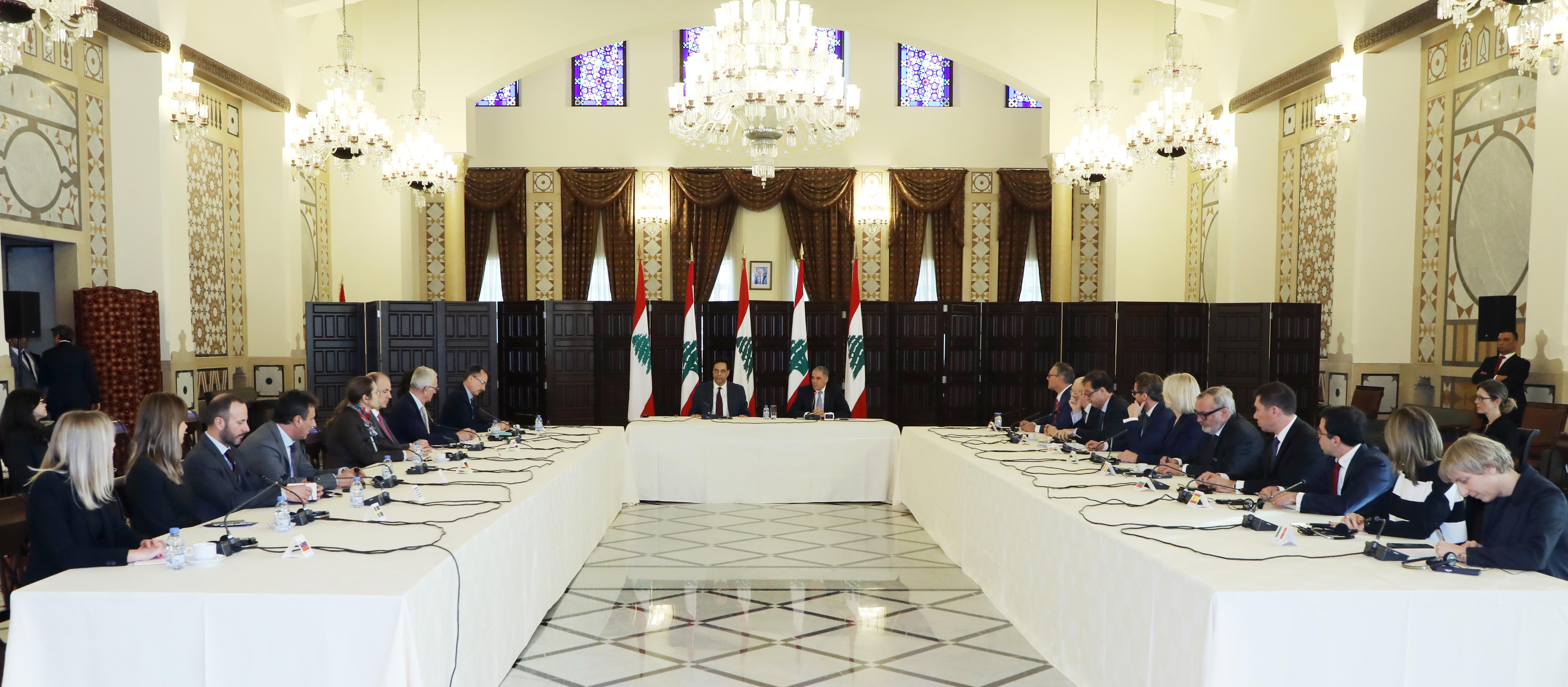 Pr Minister Hassan Diab meets a Delegation European Ambassador