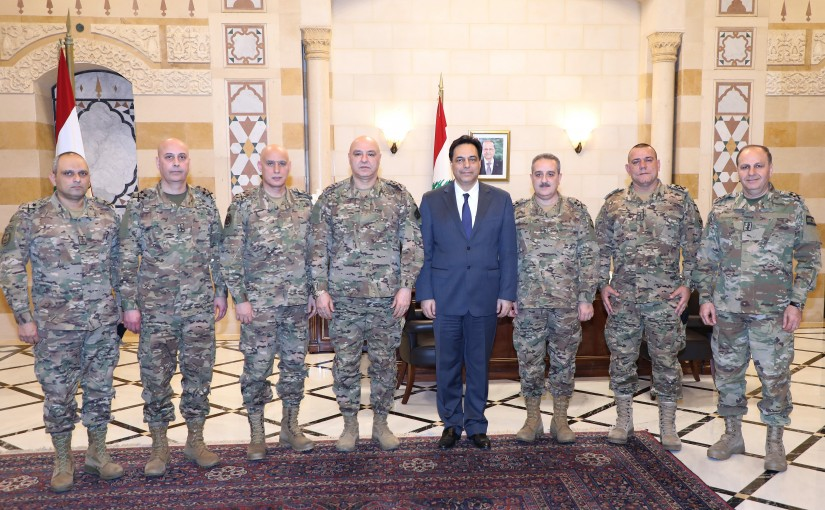 Pr Minister Hassan Diab meets a Delegation from Lebanese Army