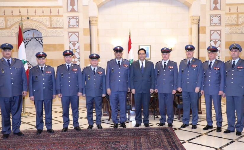 Pr Minister Hassan Diab meets a Delegation from Lebanese Security Forces.