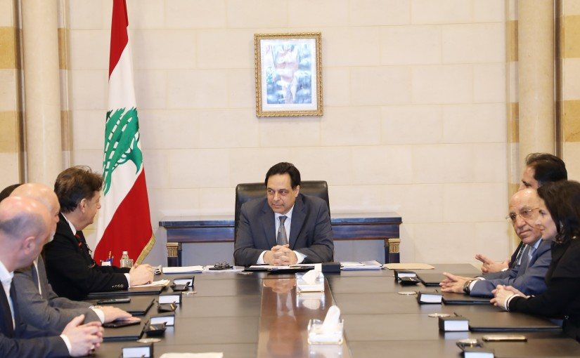 Pr Minister Hassan Diab meets a Delegation from Syndicate Hospital