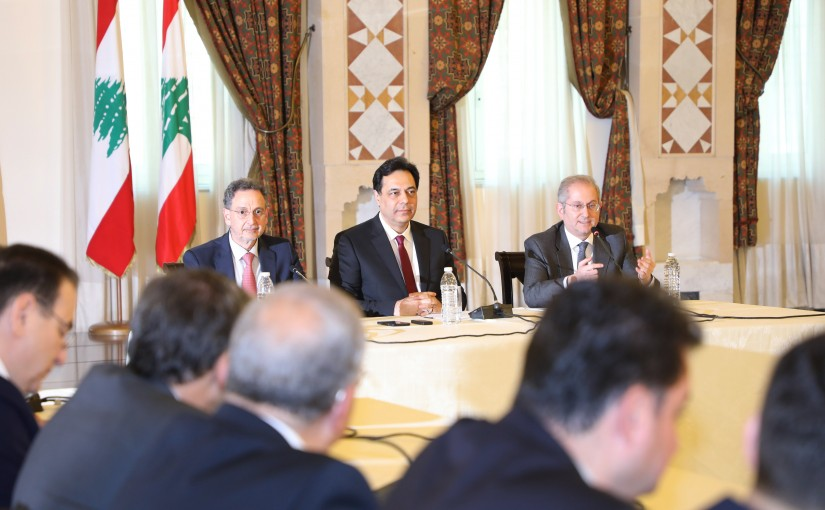 Pr Minister Hassan Diab meets a Delegation from Lebanese Traders