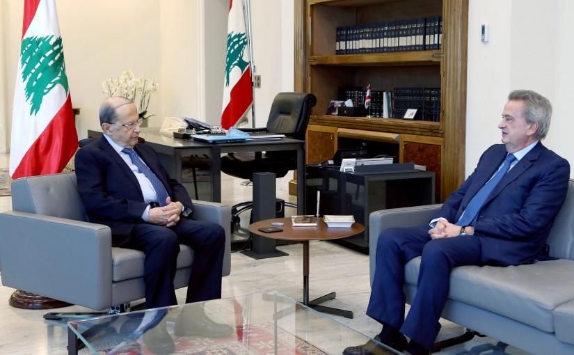President Michel Aoun meets Governor Riad Salameh.