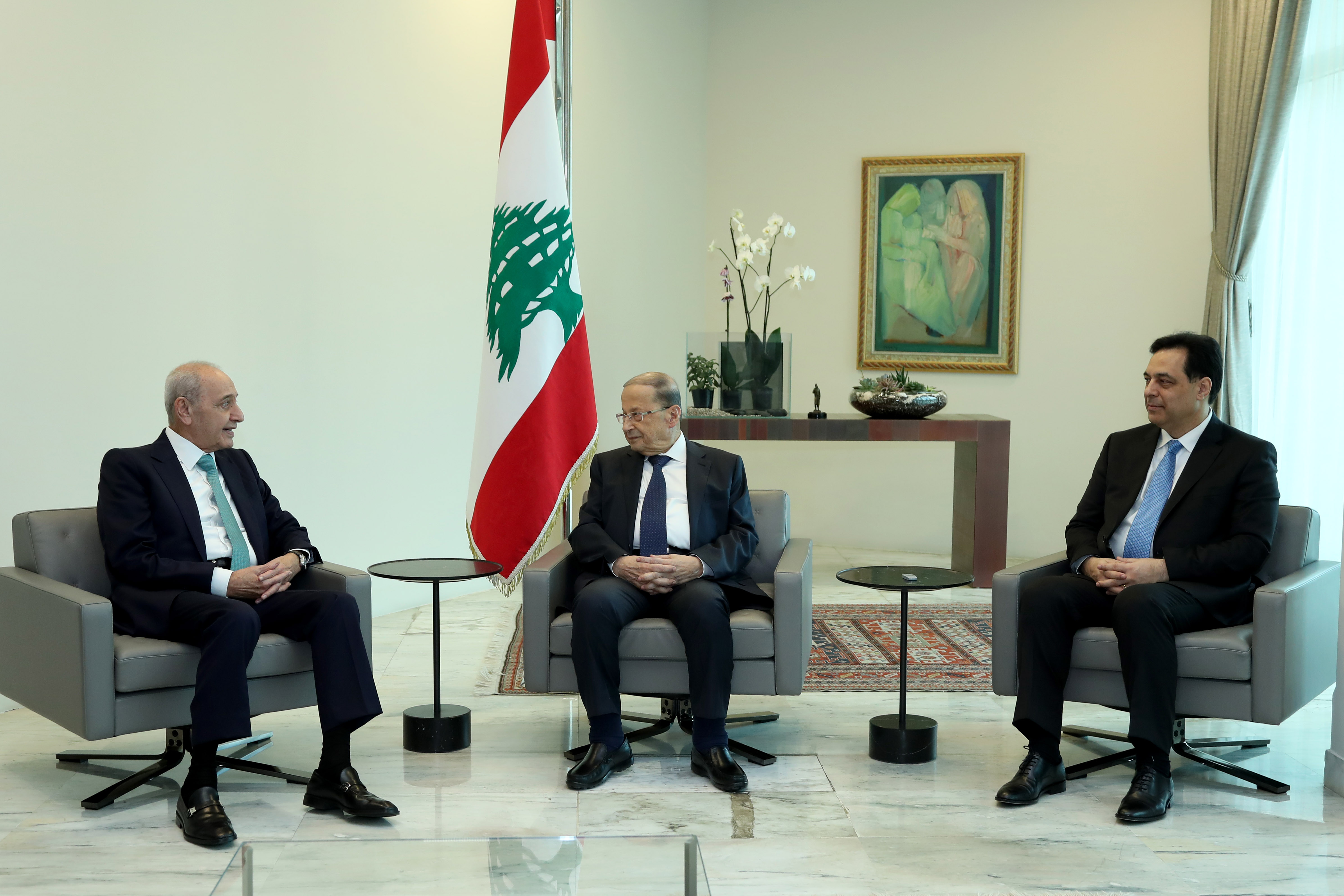 1 - President Michel Aoun meets with Presidents Berri and Diab