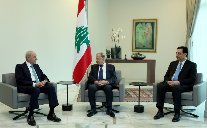 President Michel Aoun meets with Presidents Berri and Diab.