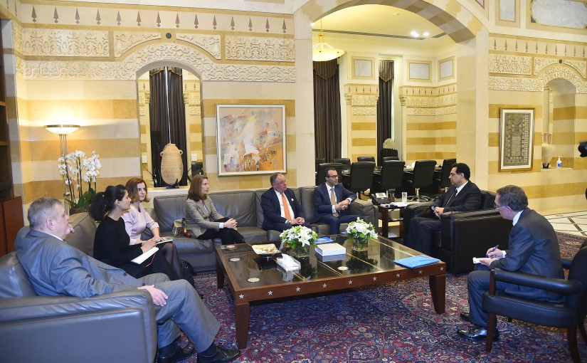 Pr Minister Hassan Diab meets Mr Khaled Khiari with a Delegation