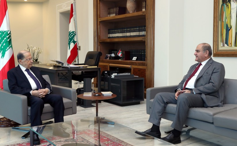 President Michel Aoun Meets Former Minister Tarek El Khatib