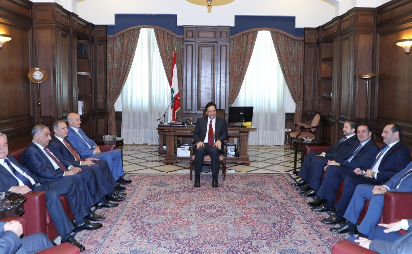 Pr Minister Hassan Diab meets a Delegation from Gathering bloc MP