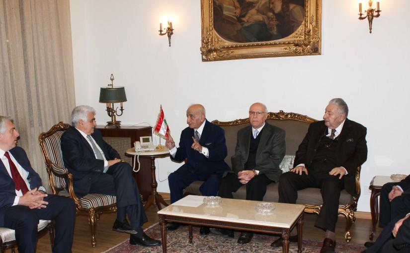 Minister Nassif Hiti meets a Delegation from Lebanese Ambassador