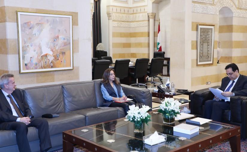 Pr Minister Hassan Diab meets Minister Zeina Akar