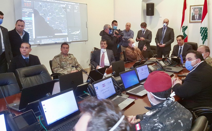Pr Minister Hassan Diab at the Coronavirus Information Room