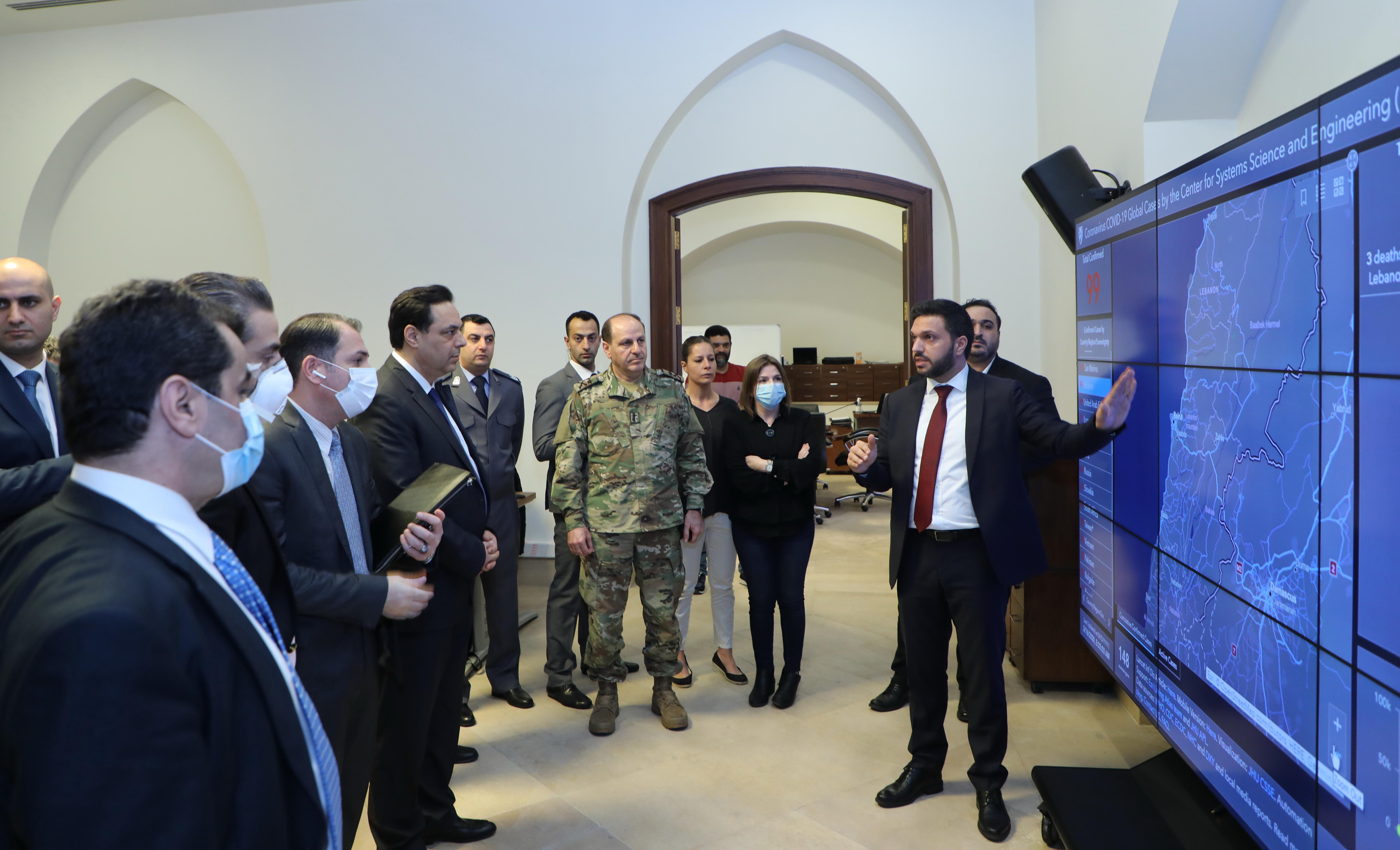 Pr Minister Haasan Diab Visits the Crisis Room 6