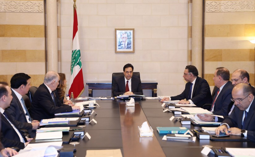 Pr Minister Hassan Diab Heading a Meeting for Environment Committee