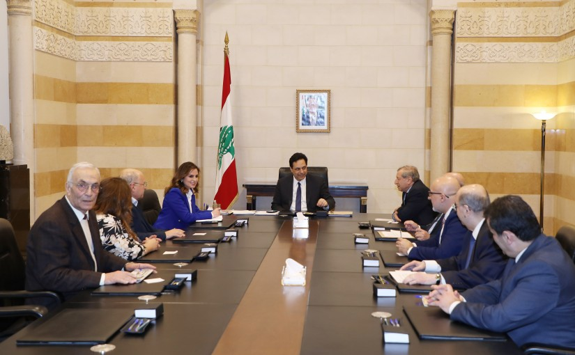 Pr Minister Hassan Diab meets Minister Manal Abdel Samad with a Delegation 1