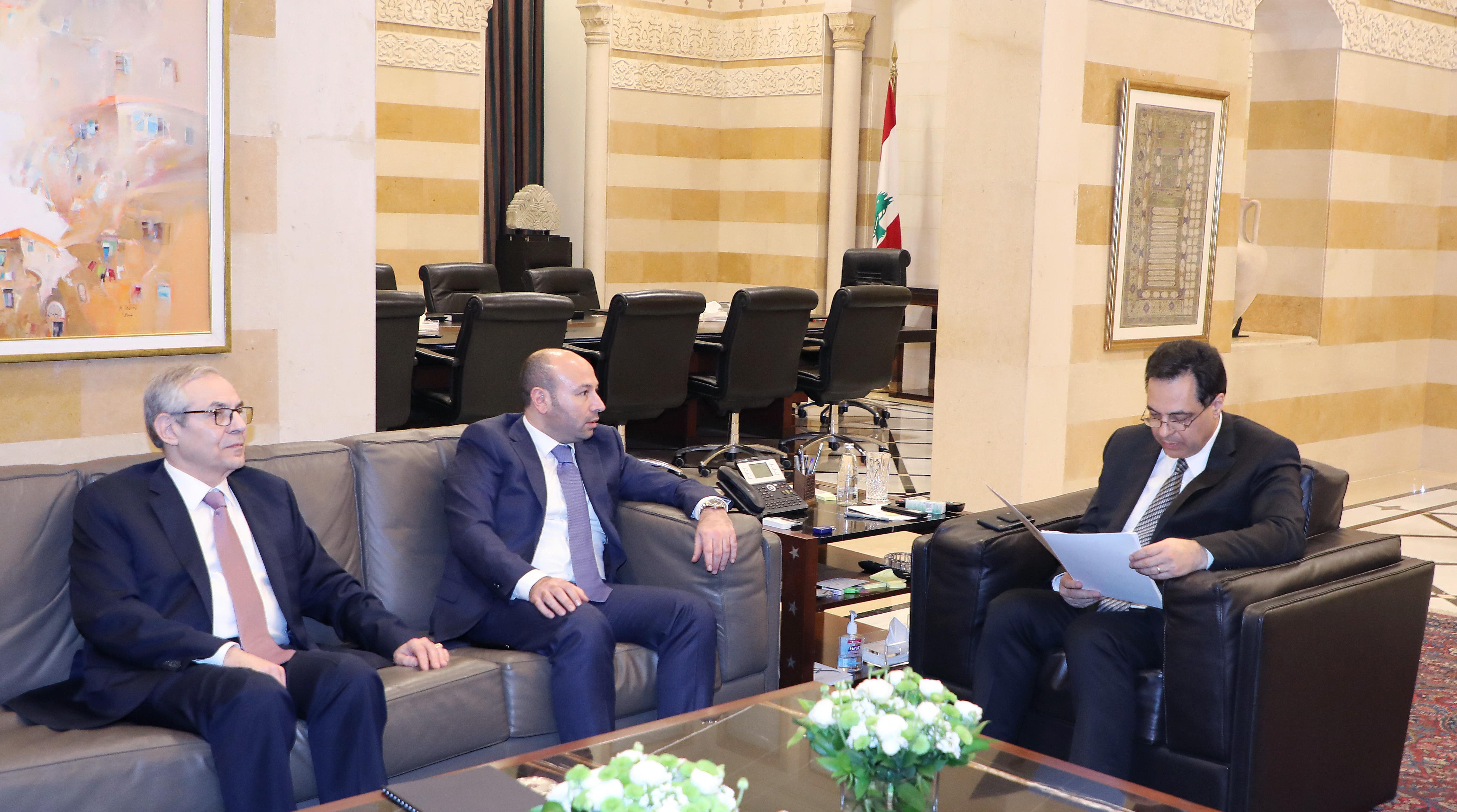 Pr Minister Hassan Diab meets Mr Hanni Chemayteli