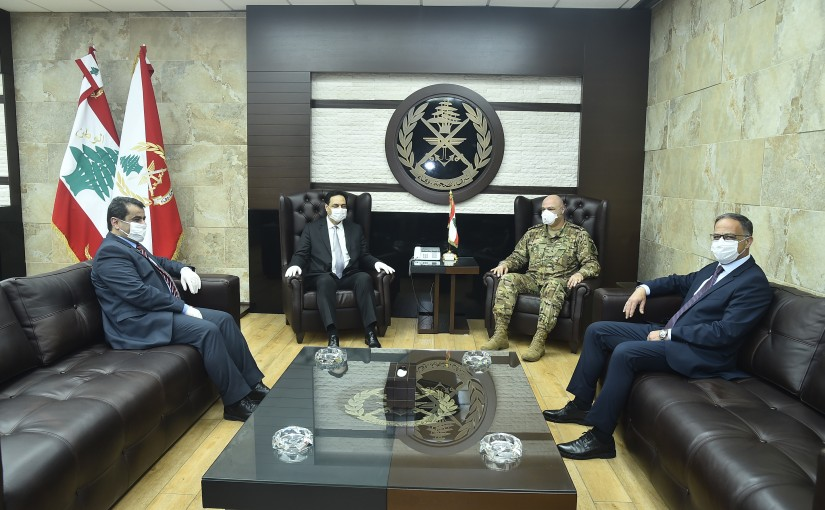 Pr Minister Hassan Diab at the Ministry of Defence