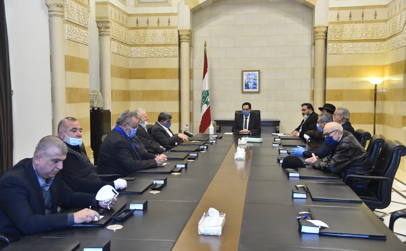 Pr Minister Hassan Diab meets a Delegation from Transport Syndicate
