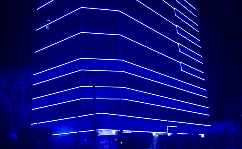 The Ministry of Social Affairs building in Badaro is blue